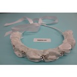 Hair band w/8 Satin & 7 R.stones flowersClear/White