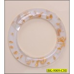 """Ring Plastic with Silver Inside 1 1/2"""" White and Gold"""