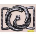 "Buckle Plastic Snakelike with Bar 2 Side Inner Diameter 2"" Antique Silver"
