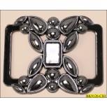 Buckle Rectangle Plastic Floral Design Gunmetal