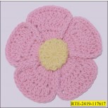 """2 1/2""""  Crochet flower PINK with  colors in Center"""