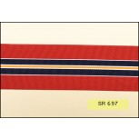 "Grosgrain stripes 2"" red/gold/navy/white"