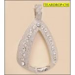 "Rhinestone Metal Teardrop Pendant 3""x2 7/8"" Clear and Nickel"