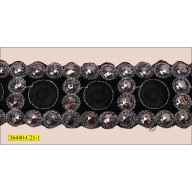 "Beads with Lurex Embroidered Hot Fix 2 1/4"" Black and Gunmetal"