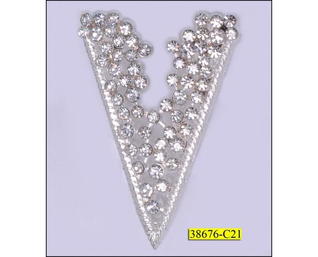 "Buckle ""V"" shape with rhinstones 1 5/8x2 1/2"" Silver"