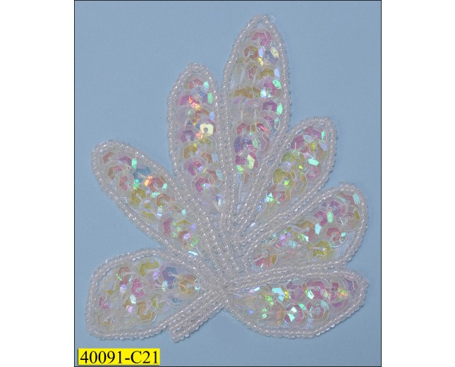 """Sequins and Beaded Leaf Applique with Hot Glue 3 1/2""""X2 1/2"""" White"""
