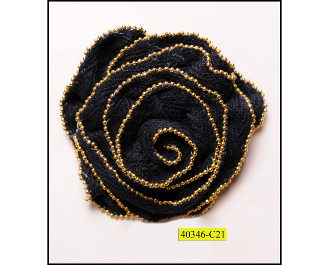 """Flower Brooch with Ball Chain on Edges 2 3/4"""" Black and Gold"""