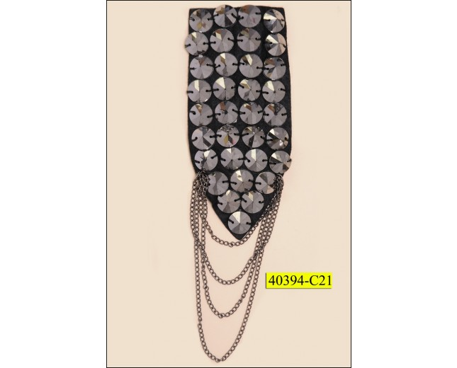 "Brooch Triangular Beaded with Chain 4 1/2""x2"" Gunmetal and Black"