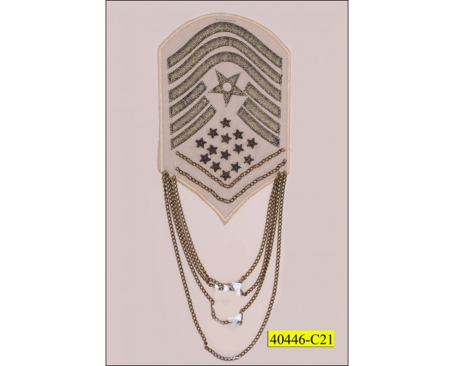"""Patch with Metal Stars and Lurex 3 1/2"""" x 5 3/8"""" Hotfix Ivory and Gold"""