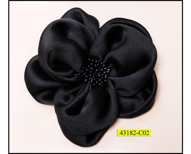 "Flower satin with center beads 4 3/4"" Black"