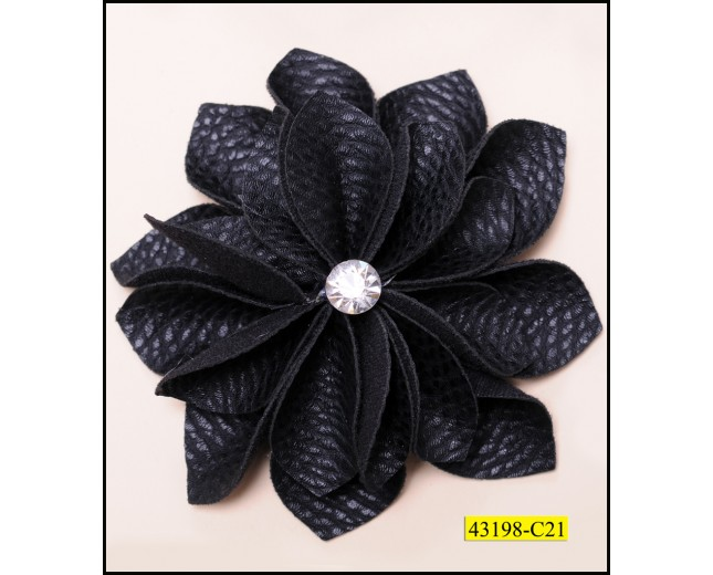 Flower Leather with 1 Rhinestone 4'' Black