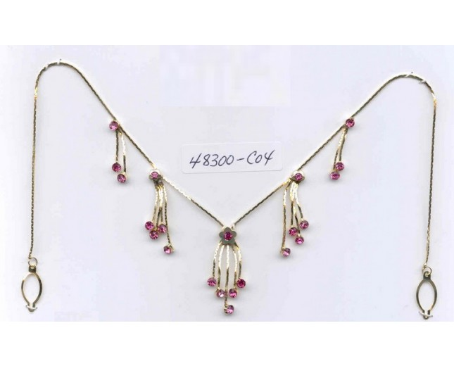 Gold chain / Pink Rhinestones necklace only w/ lem