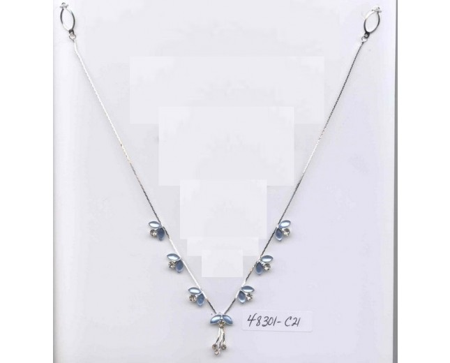 Silver / Blue stones and Rhinestones necklace only
