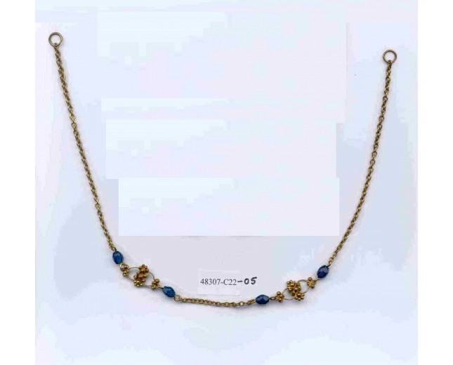 Turquoise  stone Antique Gold chain necklace 14 1/