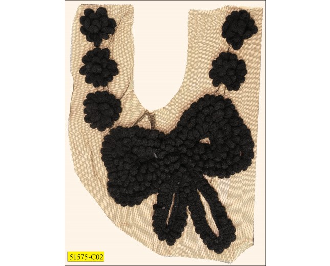 """Collar Applique cotton with bow and flowers on mesh 11"""" Black"""