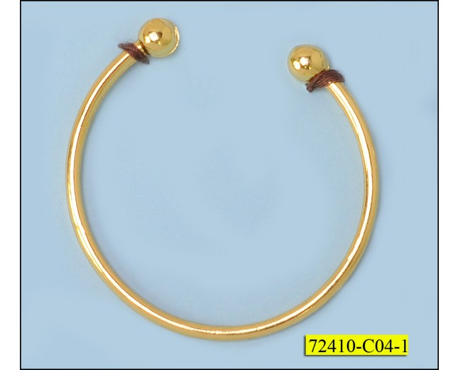 Ring metal with 2 balls at the ends Gold