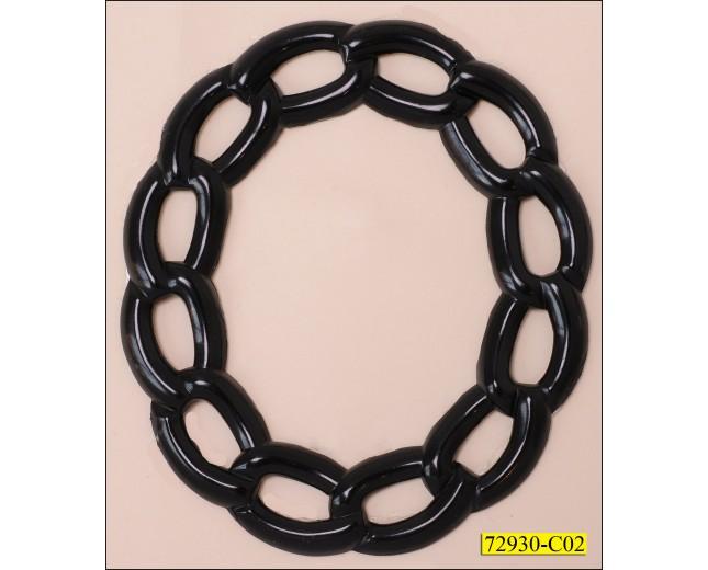 "Ring Metal Chain Pattern Inner Diameter 1 3/4"" Black"