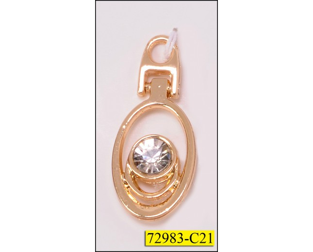 "Zipper Pull Metal Round with Rhinestone 1""x1/2"" Gold and Clear"