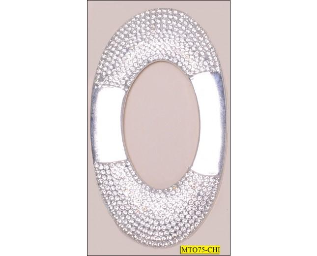 """Buckle Metal Oval Immitate Rhinestone Inner Diameter 2""""x1 3/16"""" Nickel"""