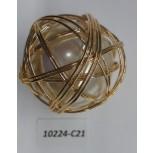 "Bead Big pearl w/wire around Dia1 1/2""Ivory/Gold"