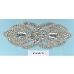 App.bow shape w/Rstones&beads5 3/4x2 1/4Silver